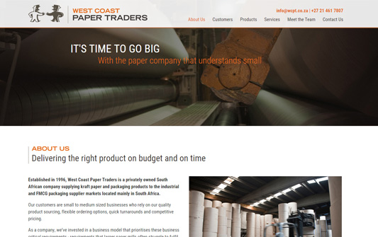 A screenshot of West Coast Paper Traders
